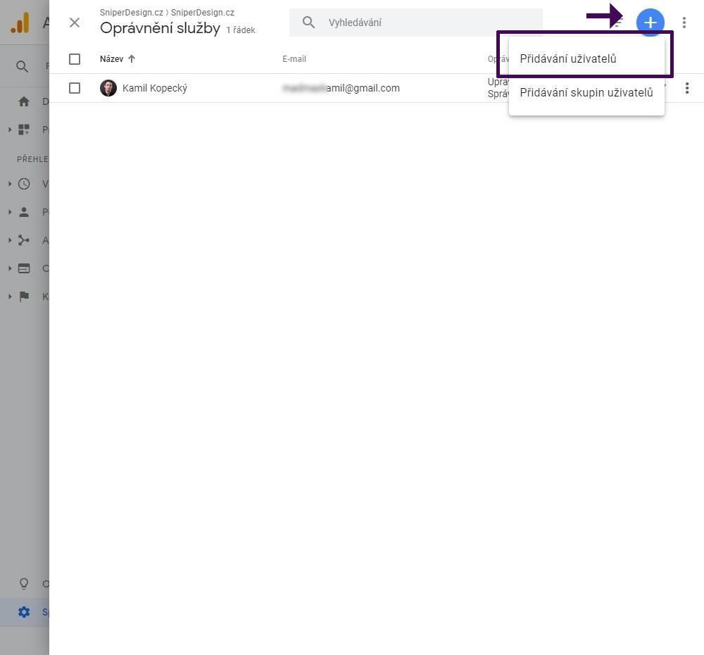 Udělení přístupu do Google Analytics návod